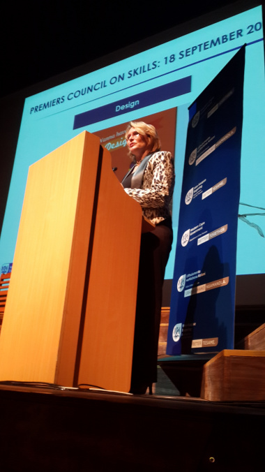 Premier Helen Zille addresses the Premier's Council on Skills, where the Western Cape Design Strategy was officially launched.