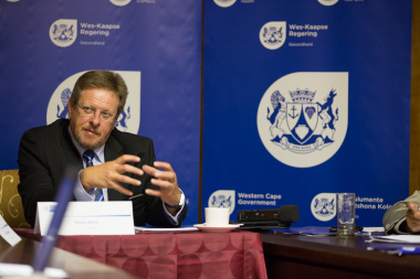 Western Cape Minister of Health, Mr Theuns Botha, speaking at a media briefing at Tygerberg Hospital regarding service pressures at health facilities across the province.
