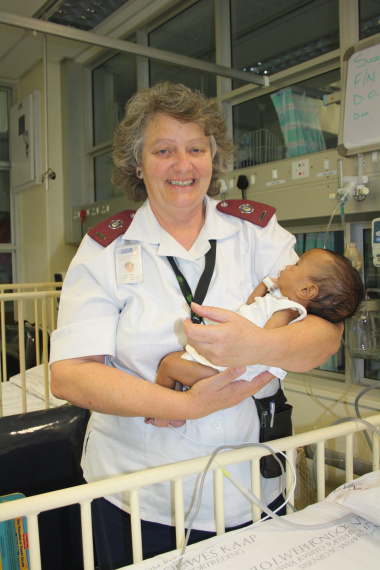 Sister Jane Booth with three-month old Ruzan Hendricks, a patient at Red Cross War Memorial Children's Hospital who is currently benefitting from the Breatheasy Programme.