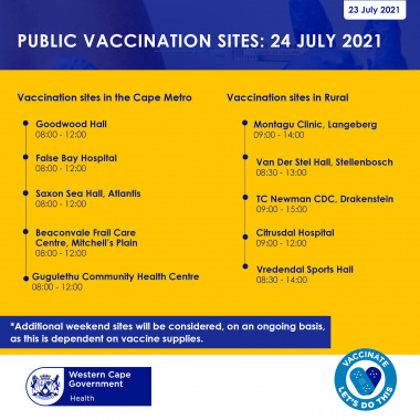 Saturday 24 July Vaccination Sites