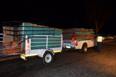 Four walls of a wendy house were loaded on this trailer.