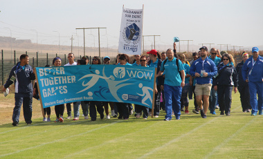Western Cape Department of Health staff start their march around the field at the beginning of the day's events in Saldanha