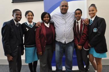 Western Cape rural category debate team: Kutlwisiso Mzaca, Cassidy Pietersen, Zenande Busayi, Mark Jansen (Director: Road Safety Management), Litchona Vongo and Welsha Wright.