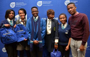 The team representing the Western Cape at the national competition: Thembakazi Ntetha, Oly Mtati, Olwethu Sipakisi, Zanele Majikijela, Sisipho Mandla and Bulelani Sidyani (team coach).