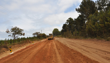 Work on the gravel section of Airport Road is under way.