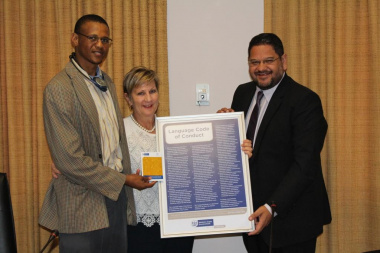 Xolisa Tshongolo, Minister Anroux Marais and HOD, Brent Walters during the launch of the booklet