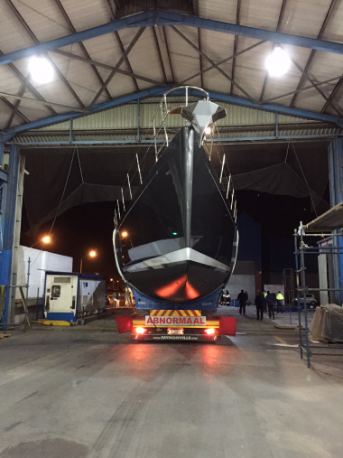 Yacht at the Southern Wind Shipyard before being transported to the Cape Town Harbour.