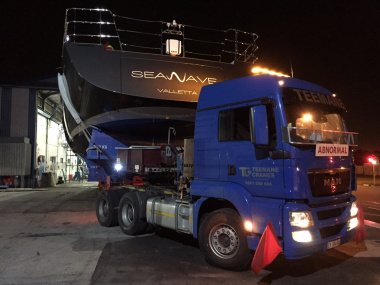 Yacht leaving the Southern Wind Shipyard in Athlone en route to the Cape Town Harbour.