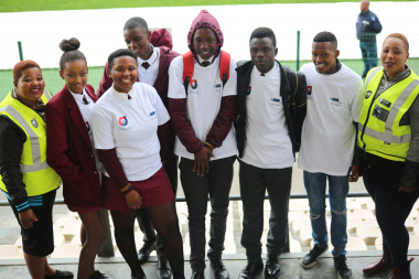 Youth from Kraaifontein were excited to be part of the Life Counts Launch. From left Ms Lulama Ndebe and Nokuthula Damane (right) with pupils from Masibambane High School.