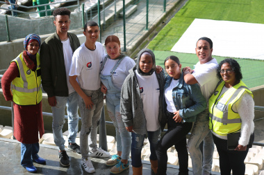 Youth from Saldanha in the West Coast were happy to be part of the Life Counts launch. They are accompanied by Walking Bus members; Ms Maureen Thyss (left) and Ms Geraldine Kokdom (far right).