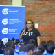 Grizelda Grootboom addressing the learners.
