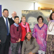 HOD Walters, Minister Marais and Chief Director Du Preez with members of the Museum Service who put the exhibition together