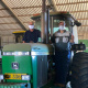 Ivan Cloete and Minister Meyer on tractor