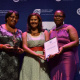 Last-Year's Awards Ceremony: Director Nomaza Dingayo with representatives from Hawston Public Library.
