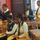 Learners from the Inkwenkwezi Secondary School entertain the guests with a marimba band performance at the official opening of the Dunoon Library