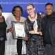 Leonora Cupido, Director Jane Moleleki and Moeniel Jacobs from Arts and Culture receive their bronze award from Premier Zille