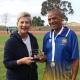 Minister Anroux Marais with Willie Engelbrect, 2.5km fun walk winner at Cape Winelands BTG