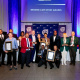 Minister Anroux Marais and HOD Brent Walters with some of the evenings' winners