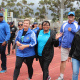 Minister Anroux Marais with Dr Lyndon Bouah and Helen Africa from Old Mutual also took part in the Cape Winelands BTG fun-walk in Paarl