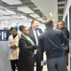 Ministers Donald Grant and Dr Nomafrench Mbombo interact with staff members.