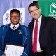 Winner of the Essay Writing Competition, Anesipho Piko with Minister Maynier