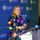 Premier Helen Zille giving her speech at the Nelson Mandela statue unveiling