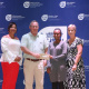 Representatives of the SWD Majorettes Association accepting the cheque from DCAS CFO Brenda Rutgers and Minister Anroux Marais