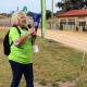 Speaker of Saldanha Bay Municipality, Olwene Daniels, braces herself against the wind to declare the BTG games open