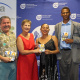 """The handover of the """"Start the Job Hunt"""" booklet. From left Dr Niel le Roux, Minister Anroux Marais, Marlene le Roux and Xolisa Tshongolo."""