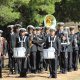 The SA Navy band prepares for the National Anthem after the Noon Gun