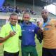 The top 3 winners of the 5km's Fun Run from left, Elfonzo Pieterse, Julius Korkee and Gift Matsake.