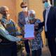 L – R: (FRONT) Mr Niklaas Kooste (73), Mrs Hester Kooste (91) and Western Cape Minister of Human Settlements, Tertuis Simmers and at the back, Ward Councillor, Alderlady Elize Steyn
