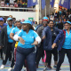 Western Cape Government staff refused to let the wet weather dampen their spirits and were dancing in large groups