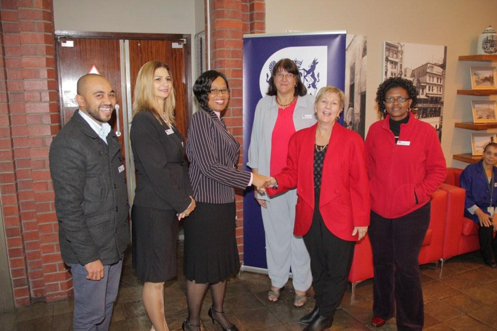 Tancewill Robertson, Edwina Africa, Director Nikiwe Momoti, Jolanda Hogg and  Felicia Abrahams welcomed Minister Marais at the Archives