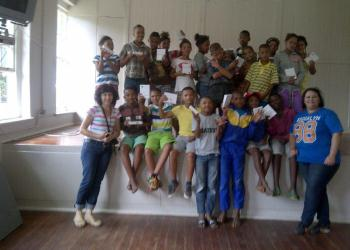 The group of learners with Mandy Magerman at their graduation