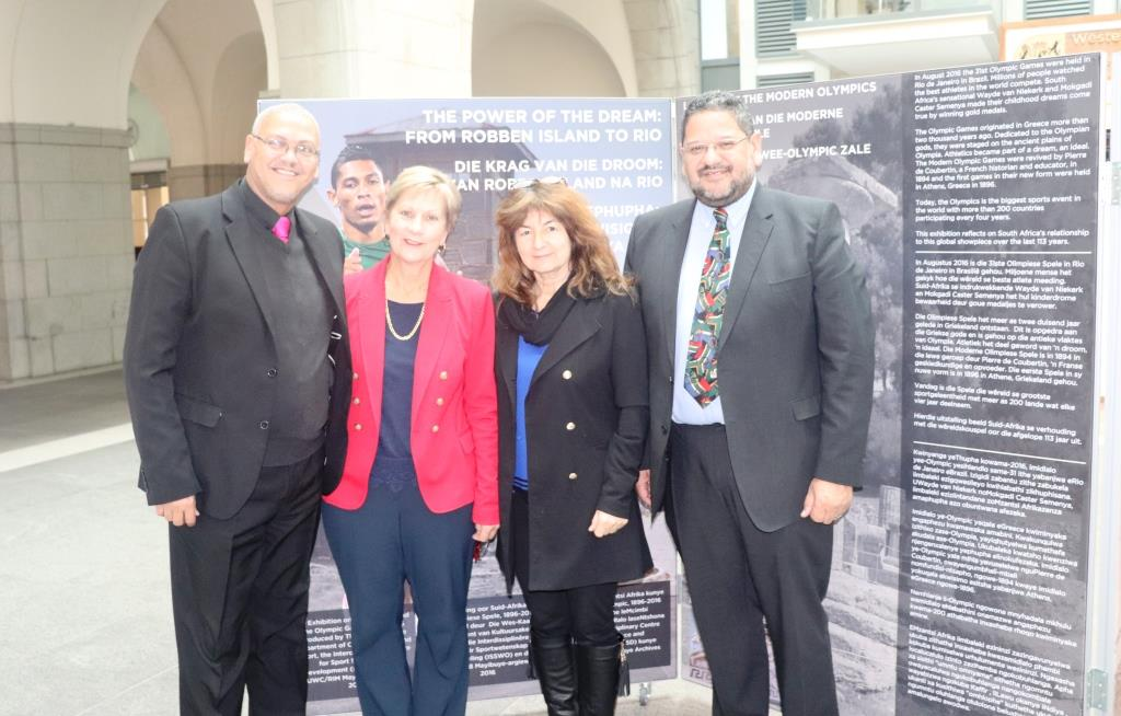 The exhibition was finally unveiled. From left Dr Lyndon Bouah, Minister Anroux Marais, Professor Marion Keim and Head of Department Brent Walters.