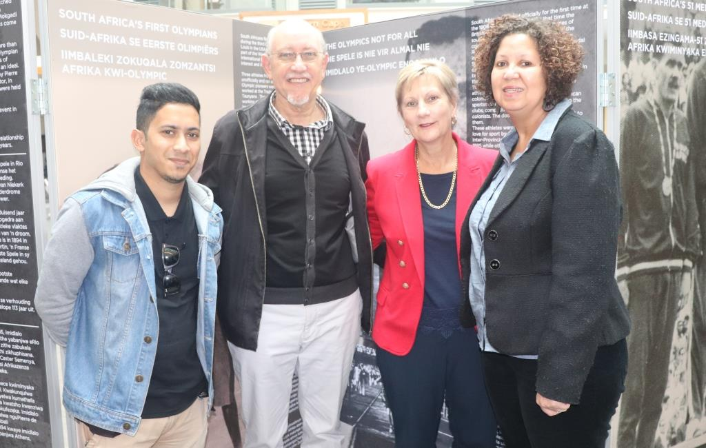 The Museum Service team that put the exhibition together. From left Shamiel Harris, Douw Briers, Minister Anroux Marais and Charlene Houston.