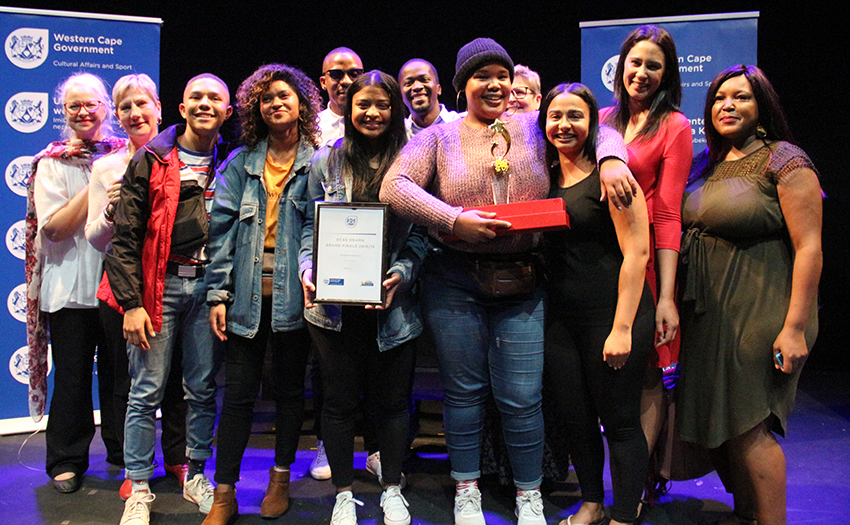 The writer, director and cast of Ek Eva accept the Best Production Award at the DCAS Drama Programme Finals at the Artscape Theatre on Friday