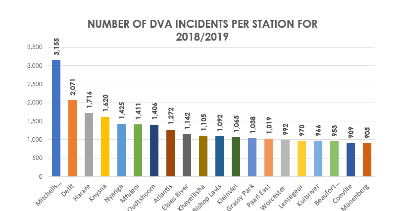 Top 20 Stations with the highest number of Domestic Violence incidents in 2018-19