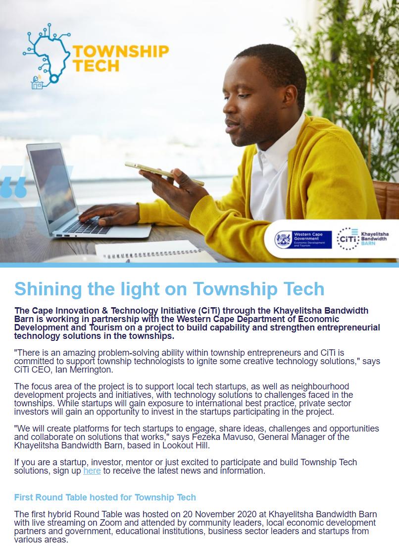 TownshipTech newsletter #1_Shining the light on Township Tech