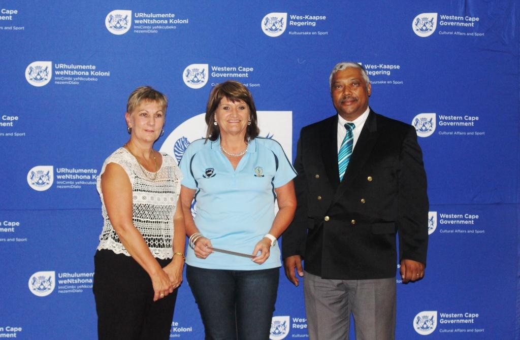 West Coast Netball Federation receiving funding from Minister Marais alongside Mayor Harold Cleophas.