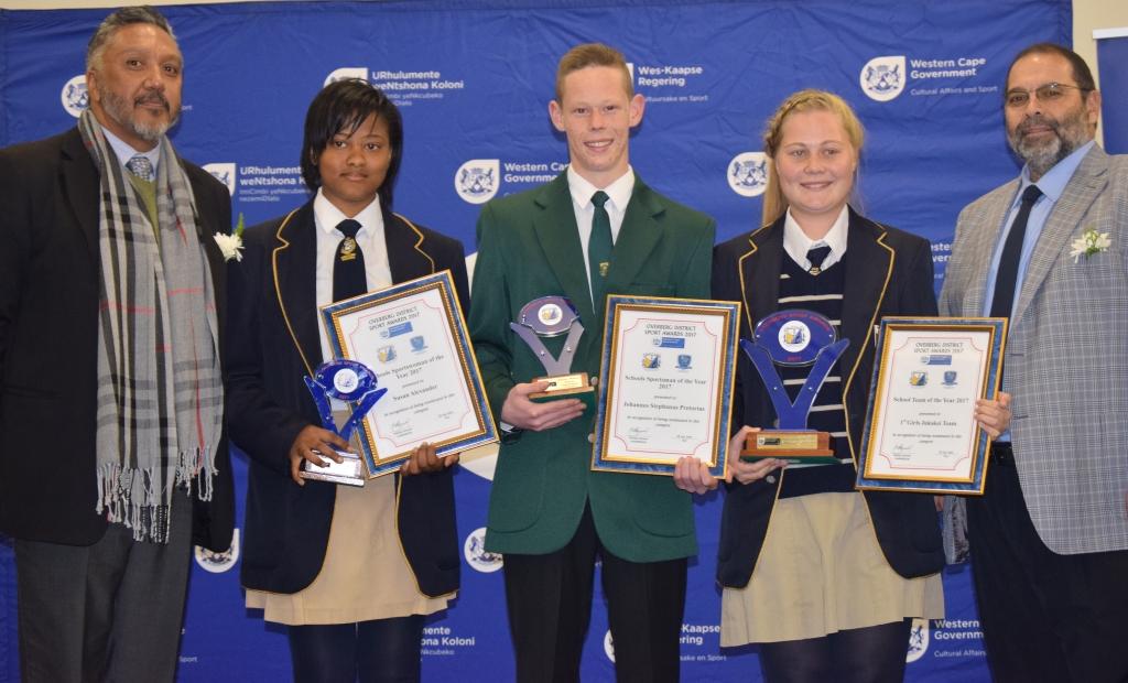Winners in the School Sport Categories with Bertram Loriston, District Director at WCED and Paul Hendricks Director of Sport Development at DCAS.