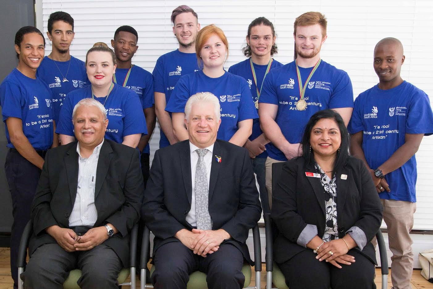 Alan Winde, Minister of Economic Opportunities, Ebrahim Peters, Provincial Artisan Development Steering Committee Chairperson, Tilly Reddy: WorldSkills South Africa Western Cape Sub-Committee Chairperson with some of the WorldSkills South Africa medalists