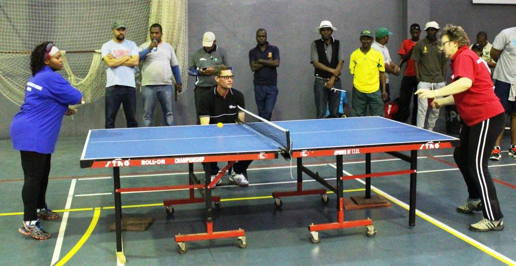 Wuma Tshona (Department of Health) and Marlene Swanepoel (DCAS) during an intense table tennis match.