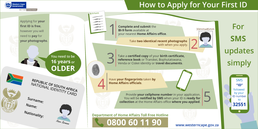 Applying For A South African Identity Document Western Cape Government